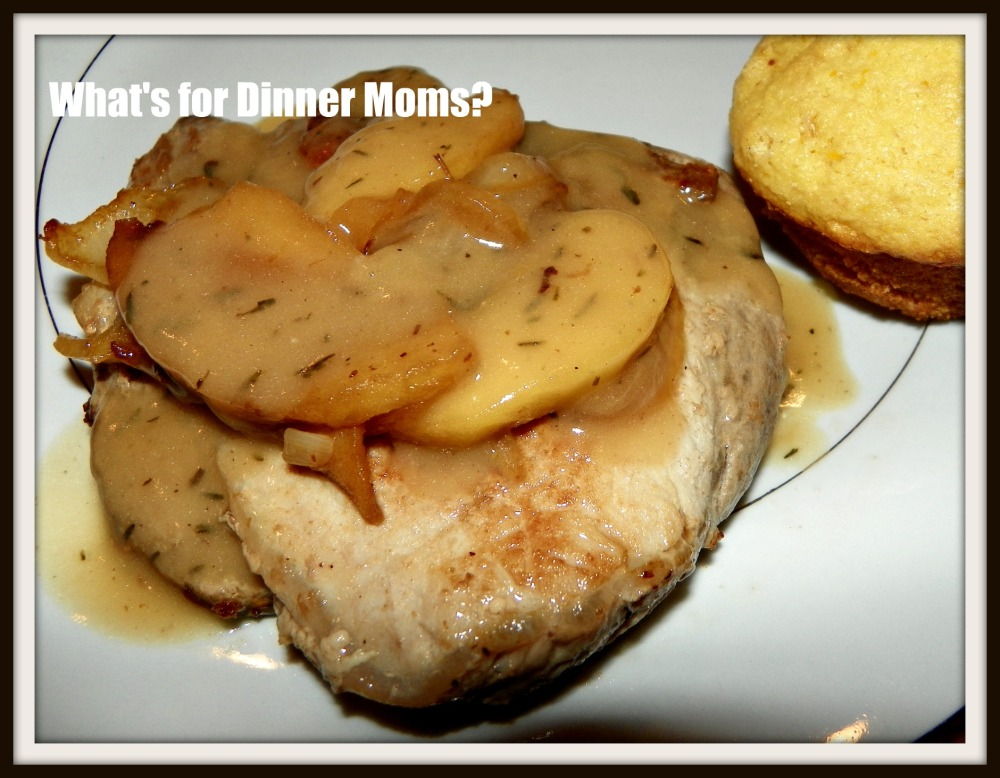 Pork Chop with Cider Gravy, Sauteed Apples and Onions