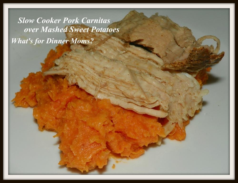 Slow Cooker Pork Carnitas over Mashed Sweet Potaotes