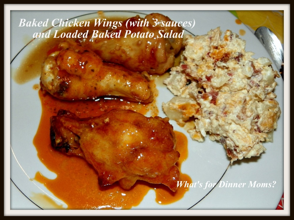 Baked Chicken Wings with Loaded Baked Potato Salad