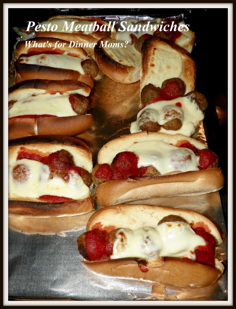 Pesto Meatball Sandwiches pan