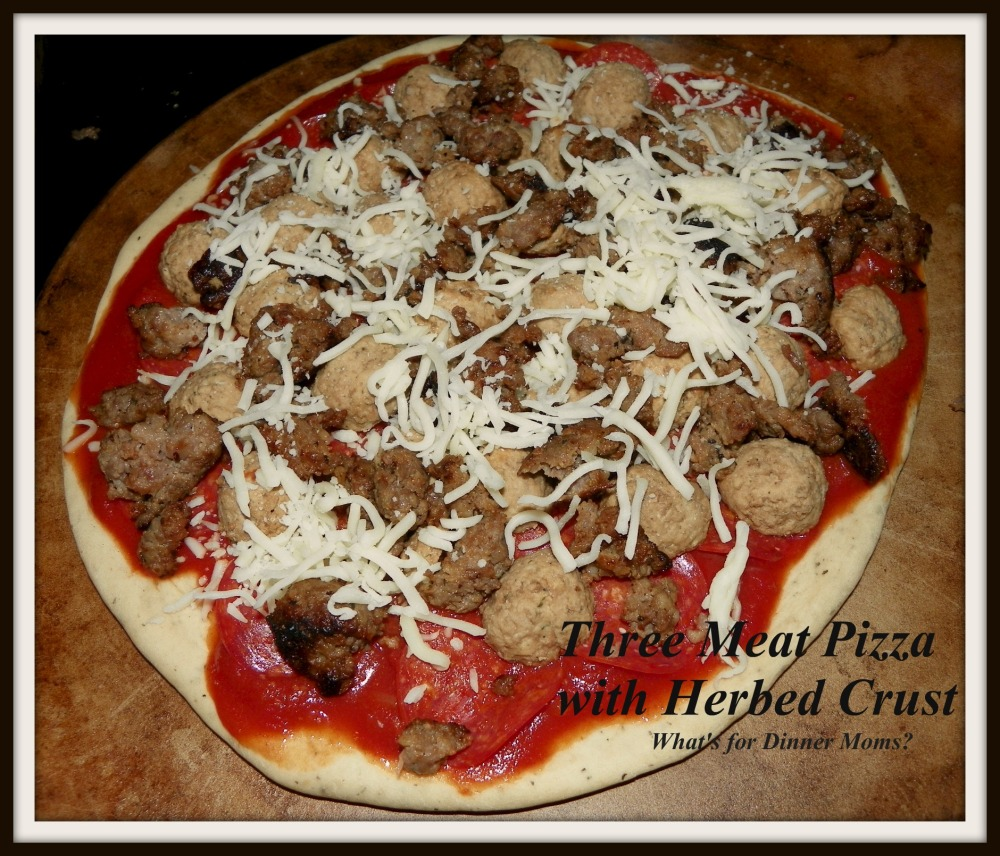 Three Meat Pizza with Herbed Crust (whole)- What's for Dinner Moms