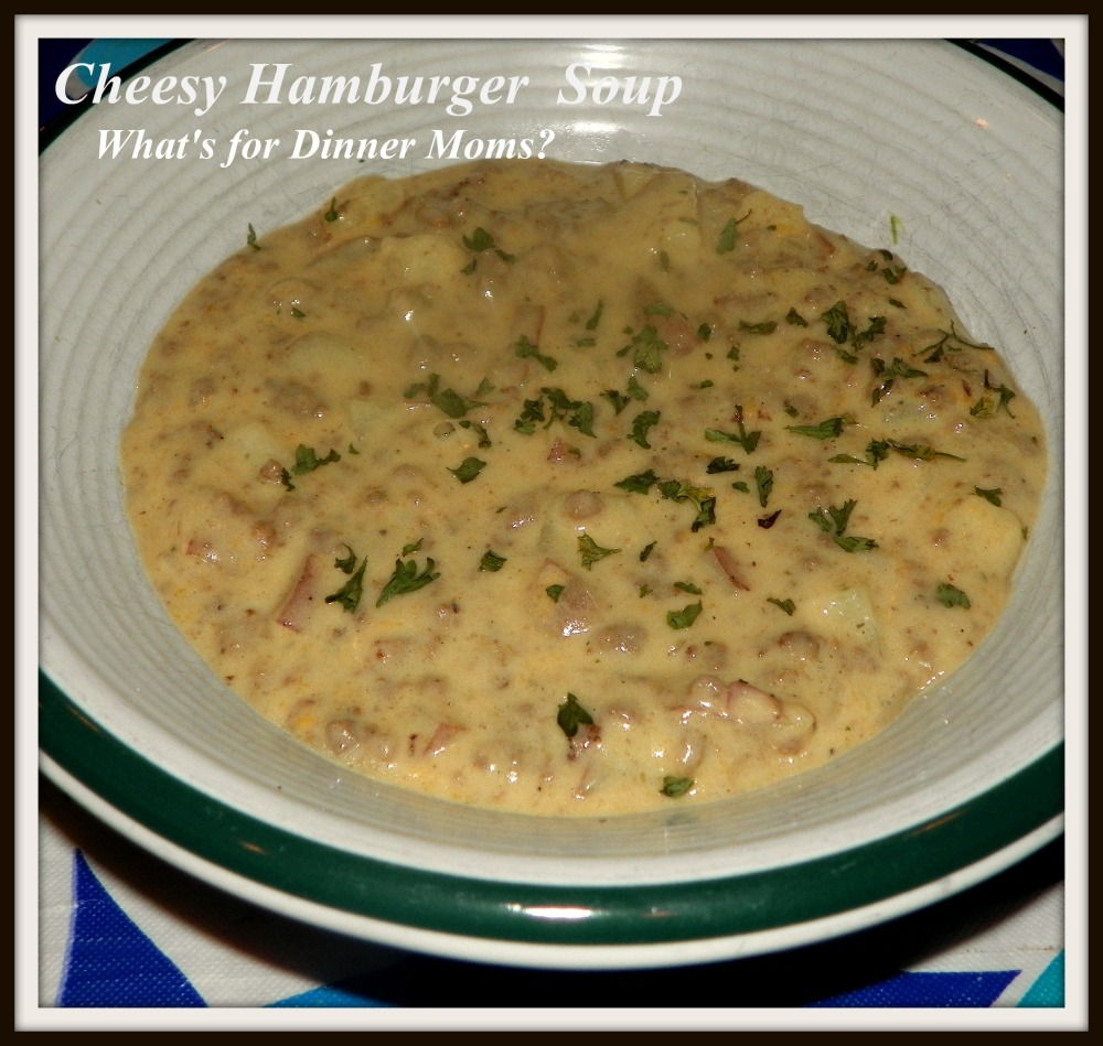 Cheesy Hamburger Soup - What's for Dinner Moms