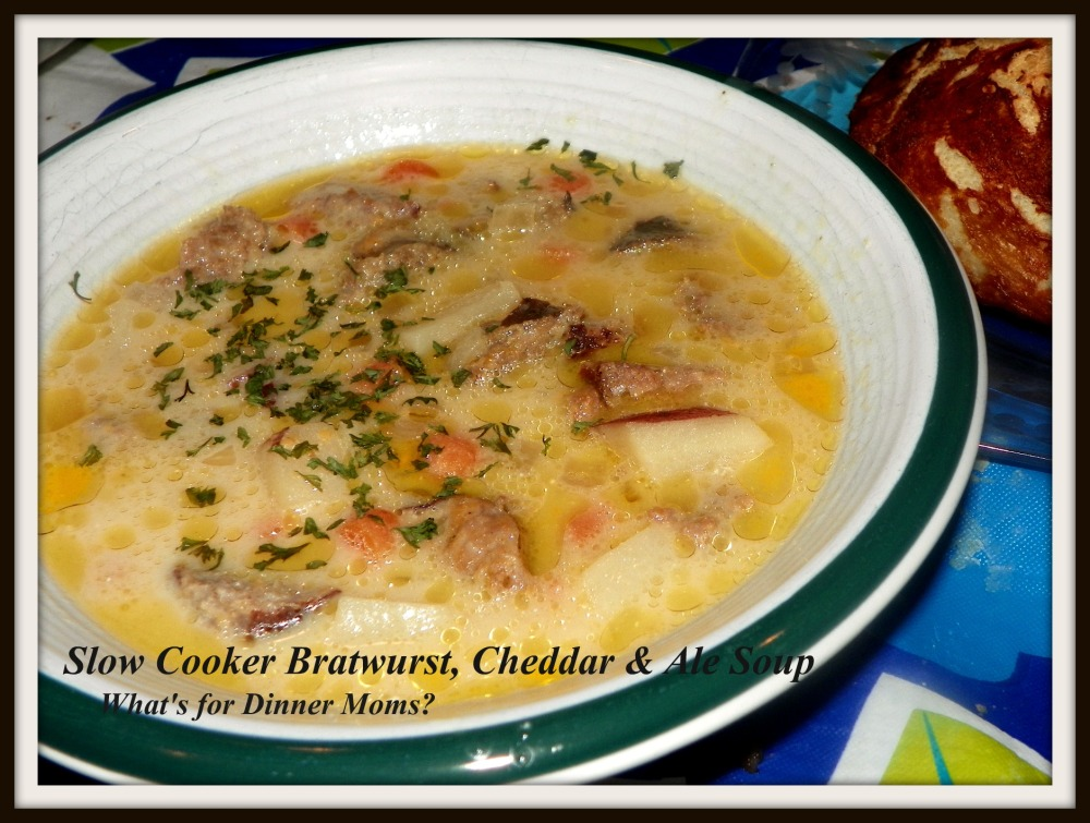 Slow Cooker Bratwurst, Cheddar & Ale Soup