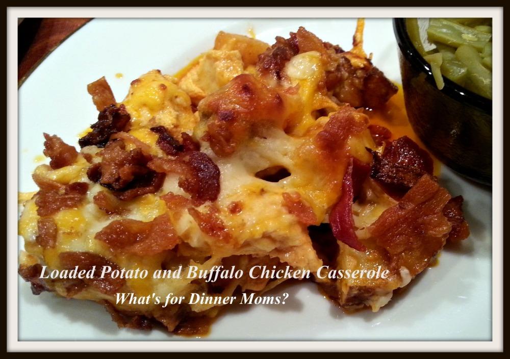Loaded Potato and Buffalo Chicken Casserole (plated)