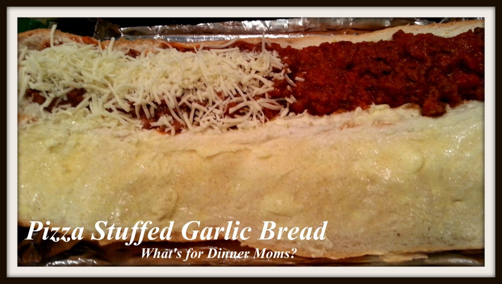 Pizza Stuffed Garlic Bread (2)- What's for Dinner Moms