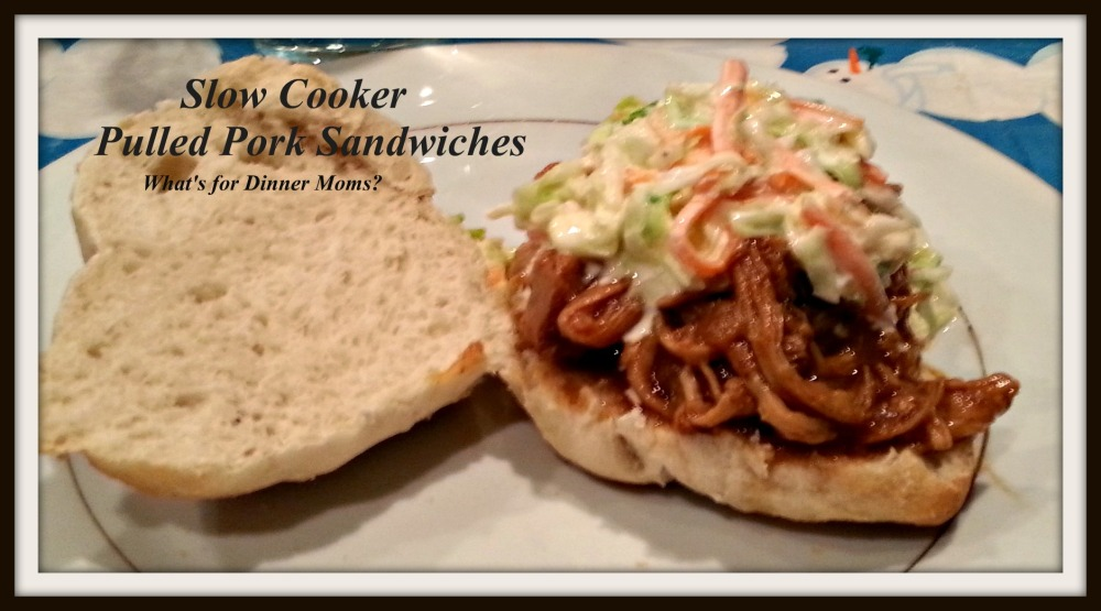 Slow Cooker Pulled Pork Sandwiches - What's for Dinner Moms