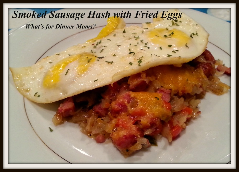 Smoked Sausage Hash with Fried Eggs (plated)