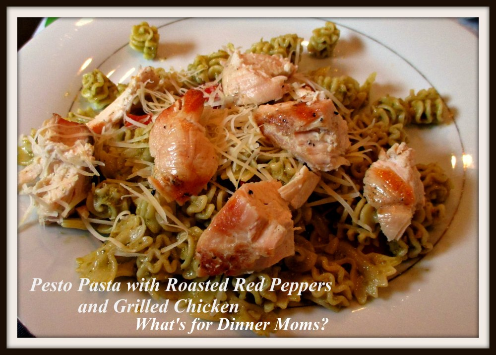 Pesto Pasta with Roasted Red Peppers and Grilled Chicken