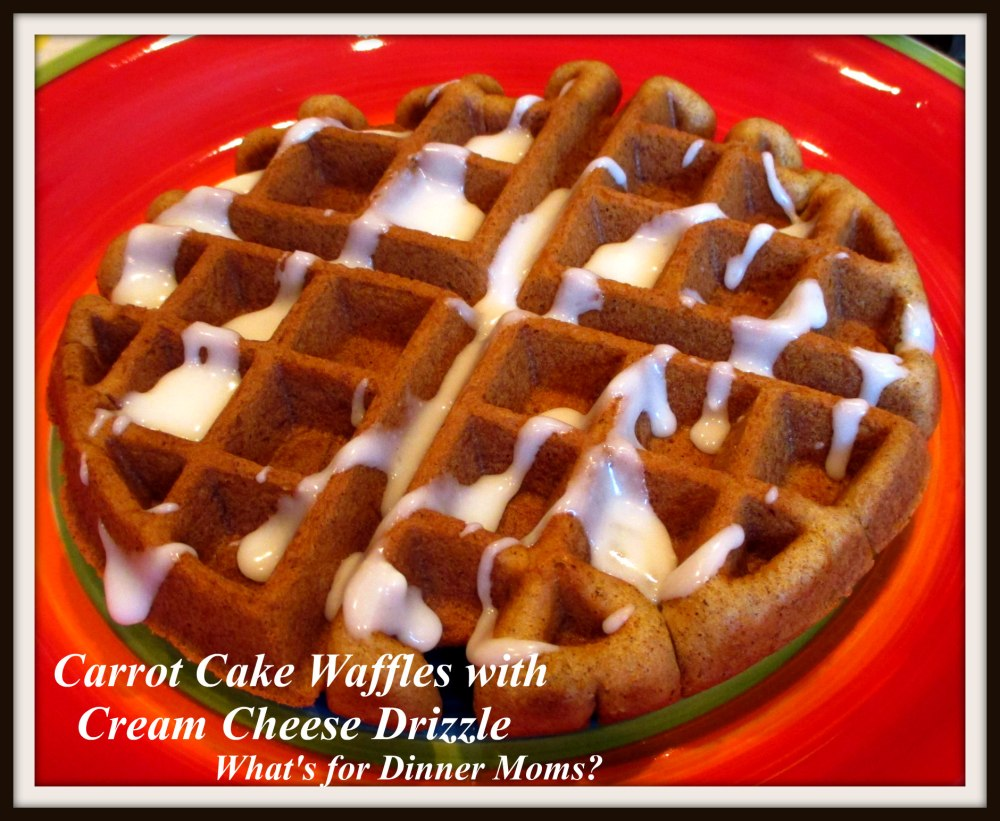 Carrot Cake Waffles with Cream Cheese Drizzle