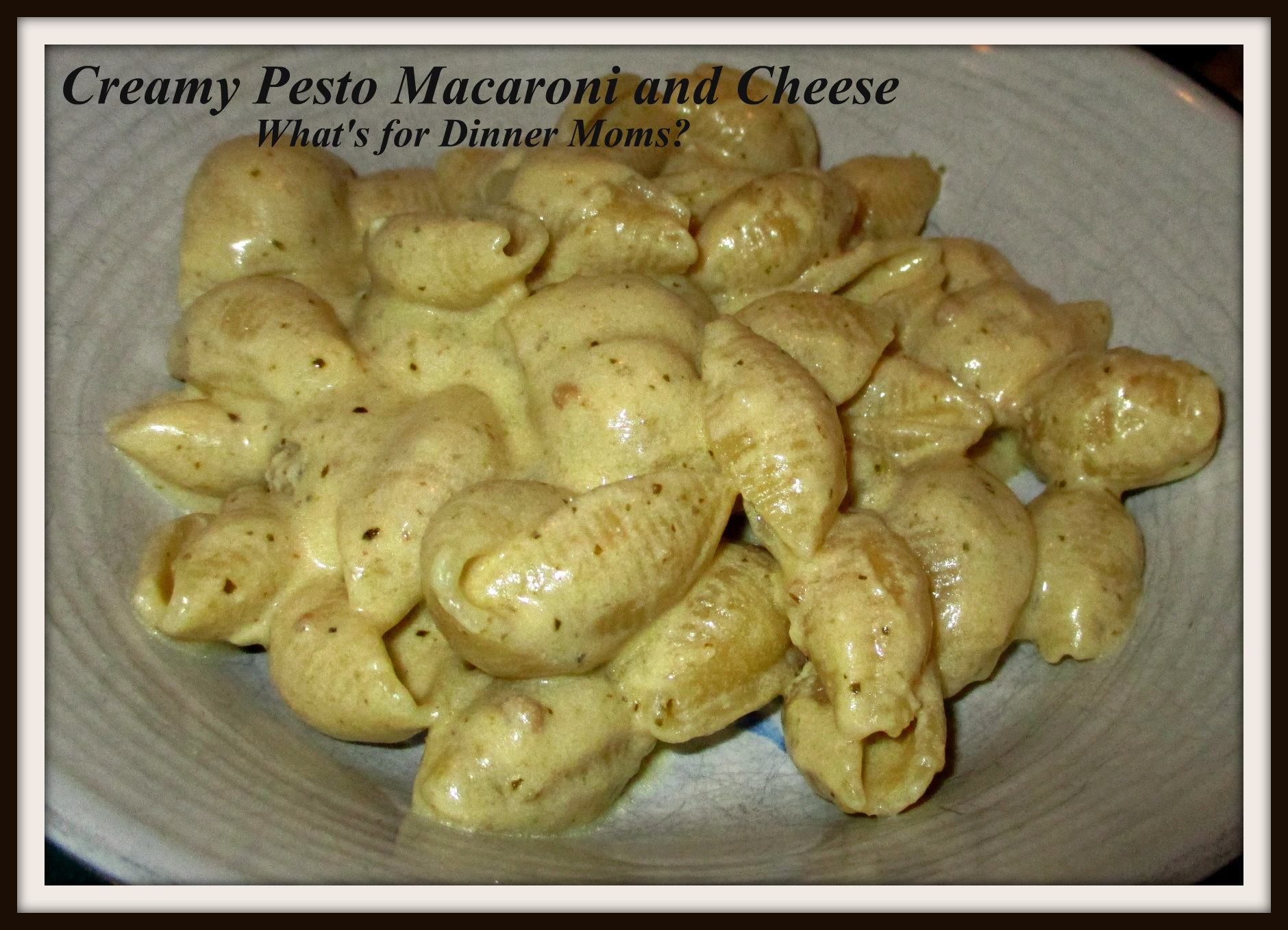 Creamy Stove Top Pesto Macaroni and Cheese | What's for Dinner Moms?