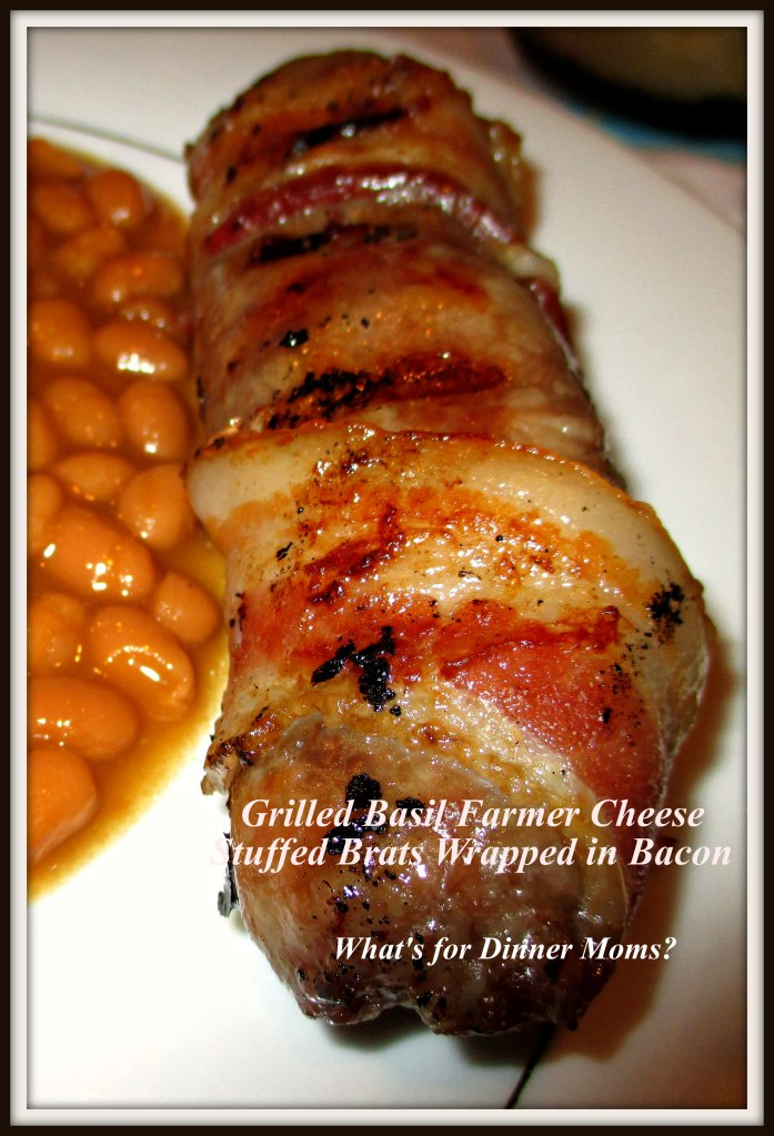 Grilled Basil Farmer Cheese Stuffed Brats Wrapped in Bacon