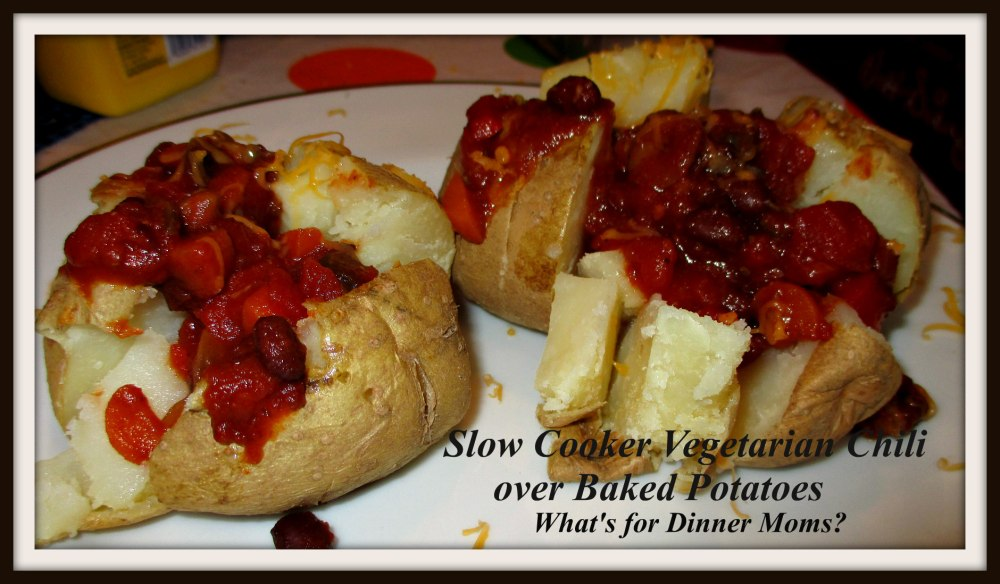 Slow Cooker Vegetarian Chili over Baked Potatoes