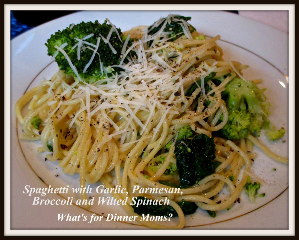 Spaghetti with Garlic, Parmesan, Broccoli, and Wilted Spinach