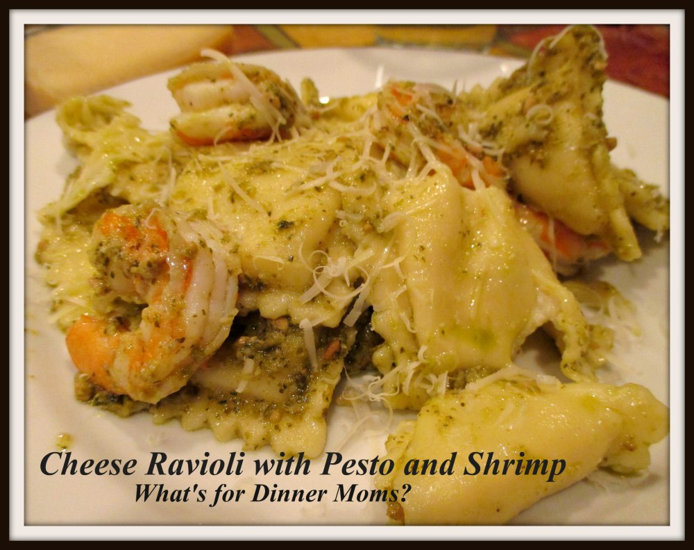 Cheese Ravioli with Pesto and Shrimp