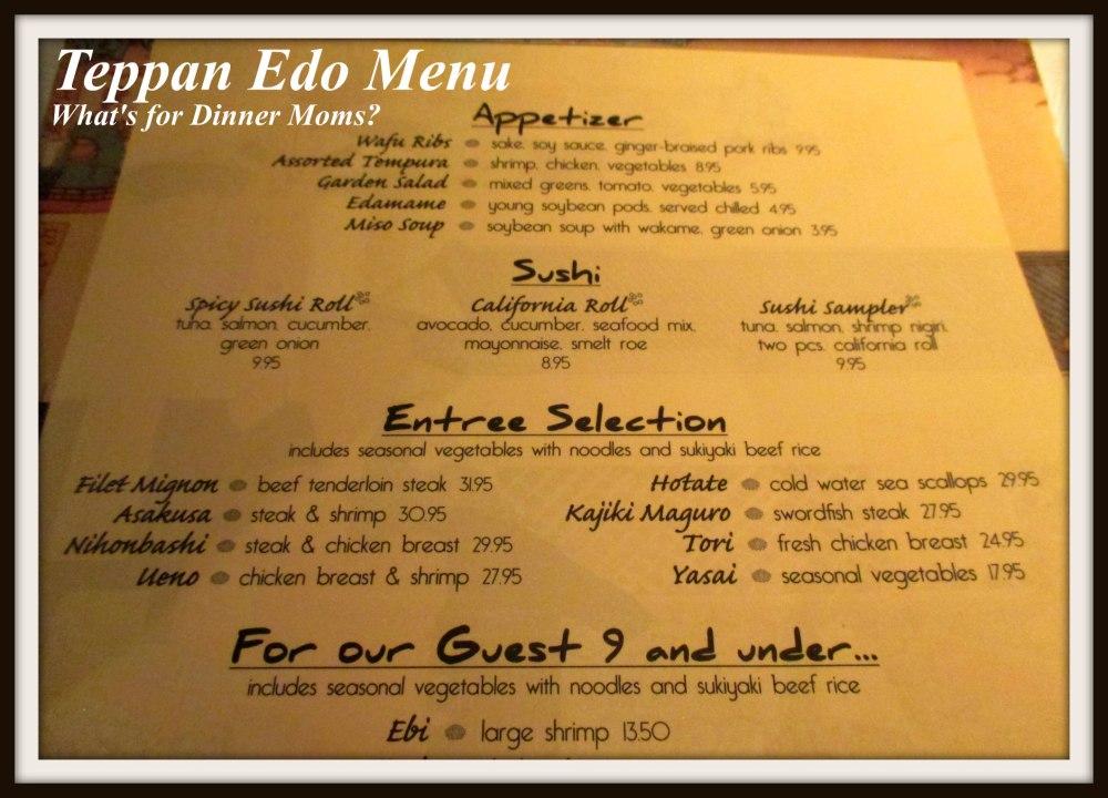 Teppan Edo Menu