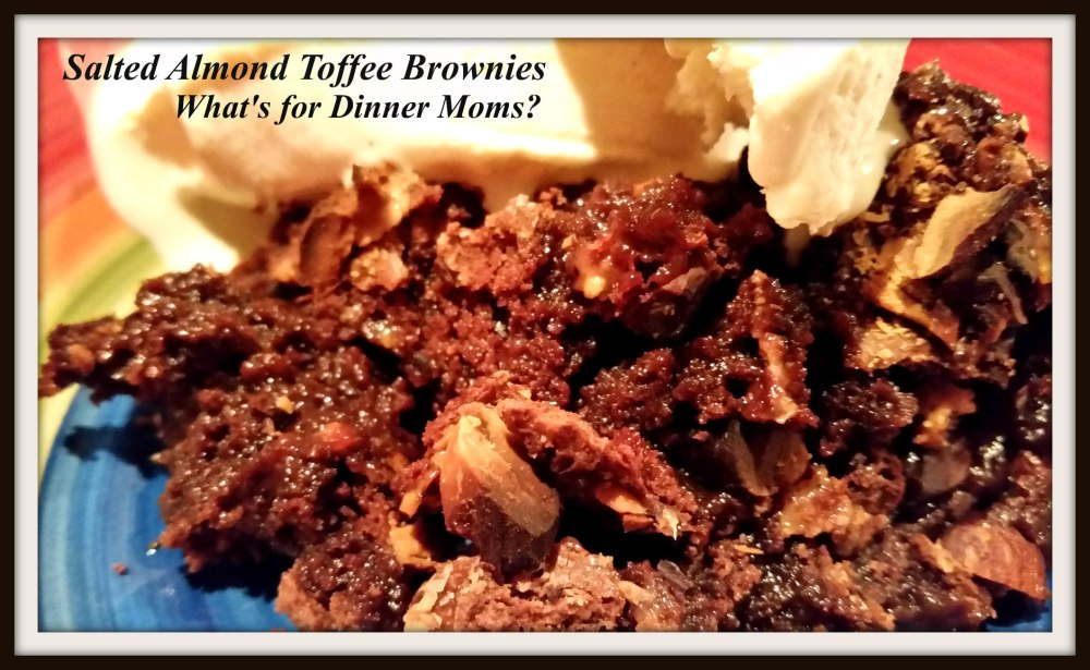 Salted Almond Toffee Brownies with Ice Cream
