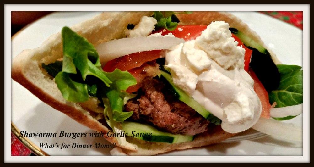 Shawarma Burgers with Garlic Sauce
