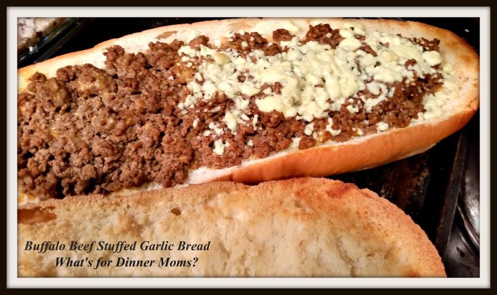 Buffalo Beef Stuffed Garlic Bread - open faced