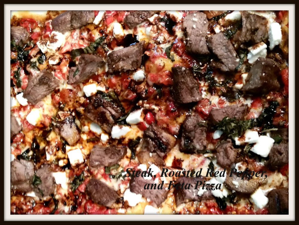 Steak, Roasted Red Pepper, and Feta Pizza (2)