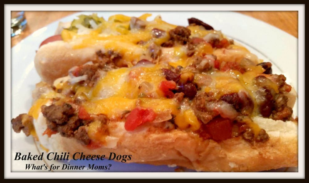 Baked Chili Cheese Dogs - Plated