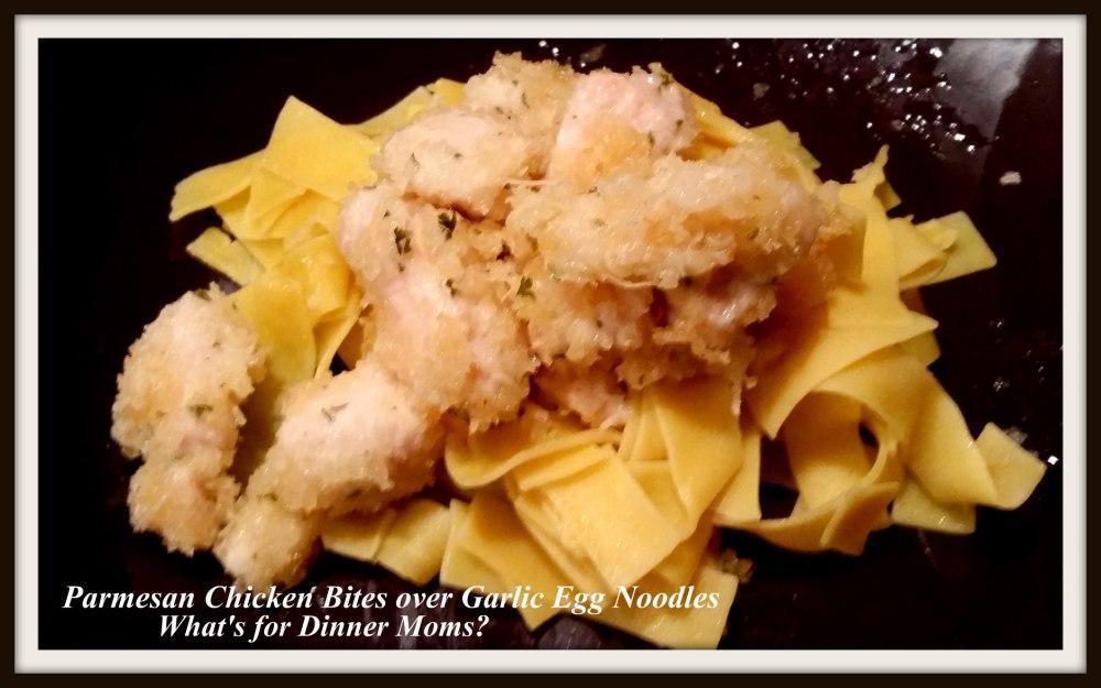 parmesan-chicken-bites-over-garlic-egg-noodles